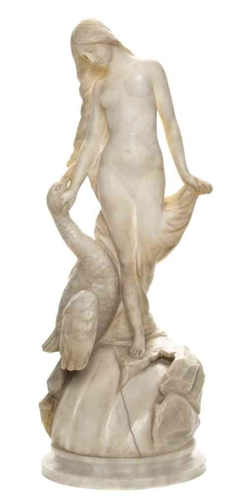 11: An Alabaster Figural Lamp, Height 17 inches.