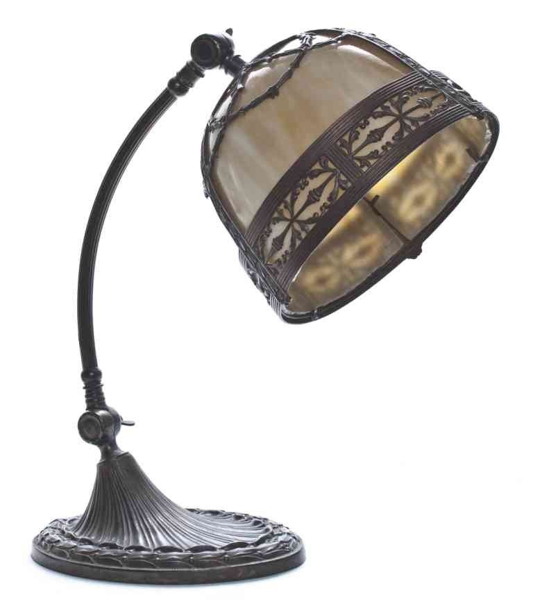 14: An American Slag Glass Desk Lamp, Height 14 inches.