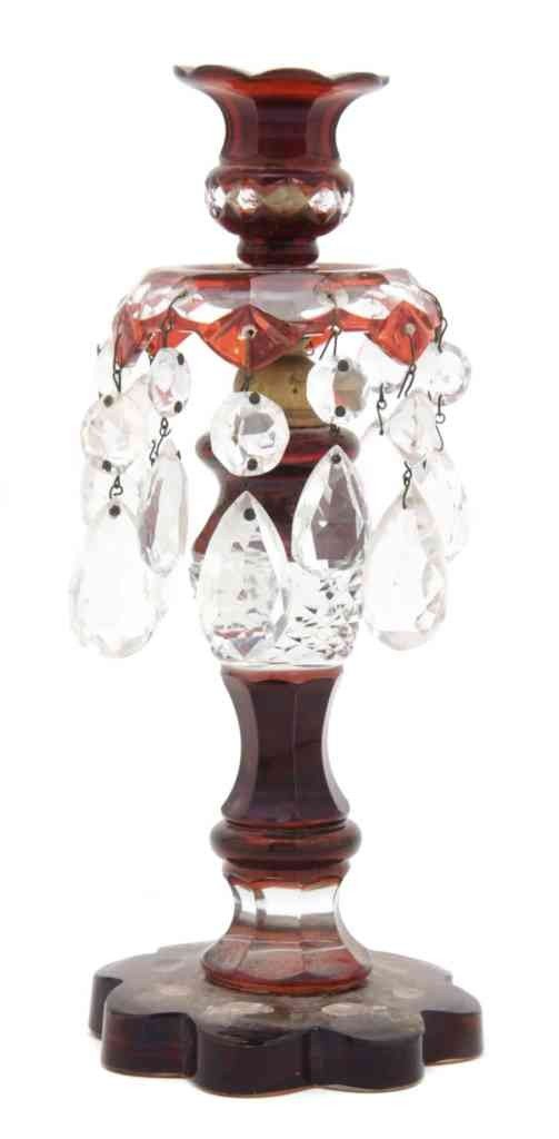 16: A Cranberry Cut to Clear Glass Candlestick, Height