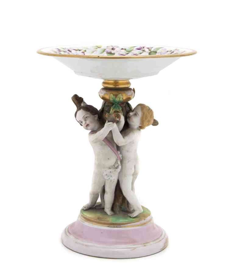 19: A Continental Figural Compote, Height 10 1/4 inches
