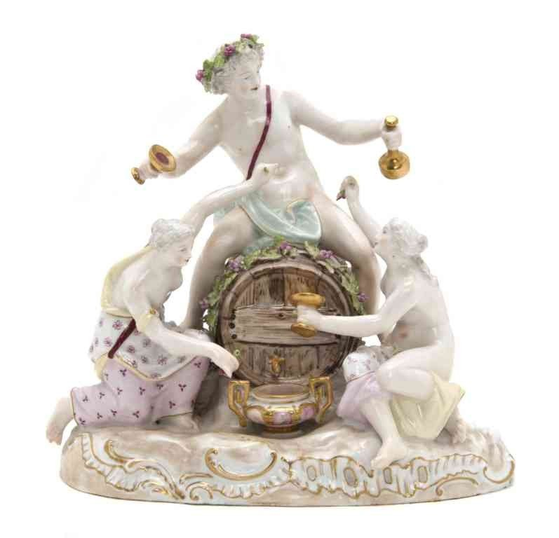 20: A Continental Porcelain Figural Group, Height 8 1/4