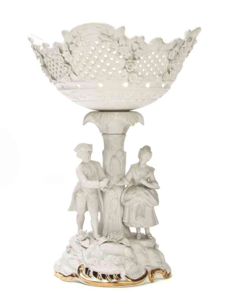 21: A Bisque Porcelain Figural Compote, Height 14 1/2 i