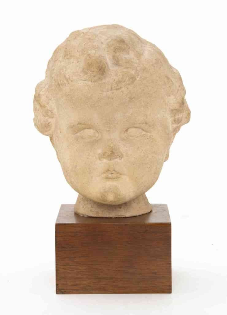 23: A Cast Bust of a Child, Height overall 7 1/4 inches
