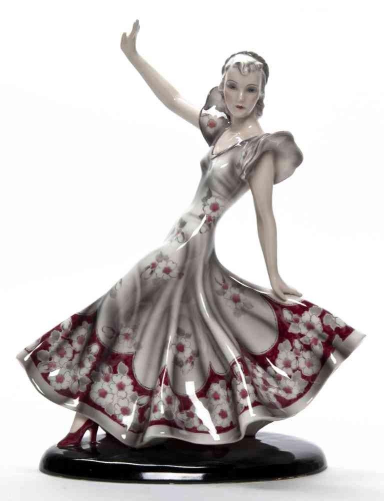 96: A Goldscheider Porcelain Figure, Height 14 inches.