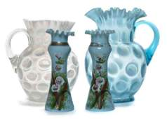 206: Two Victorian Glass Water Pitchers, Height of tall