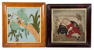 Two Framed Decorative Articles, Height of first ov