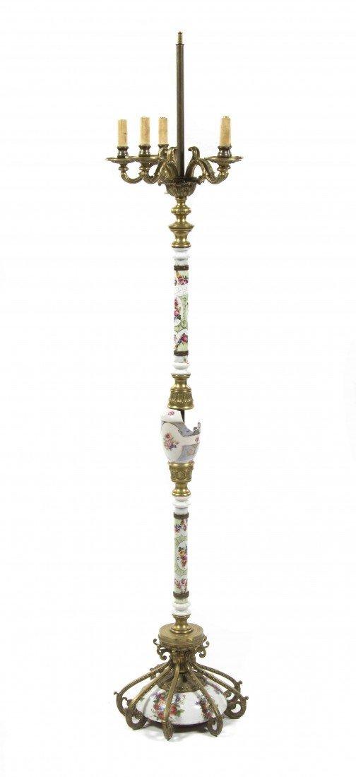 501: A Continental Porcelain Mounted Bronze Torchere, H