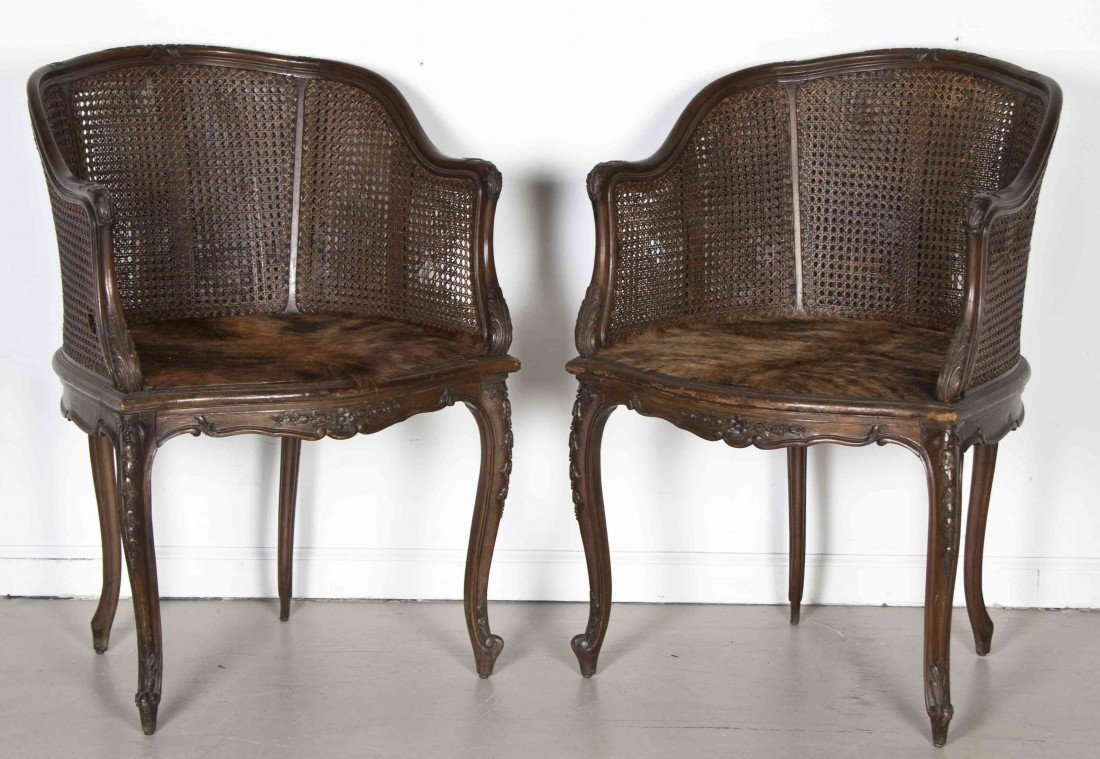 503: A Pair of Louis XV Style Caned Bergeres, Height 33