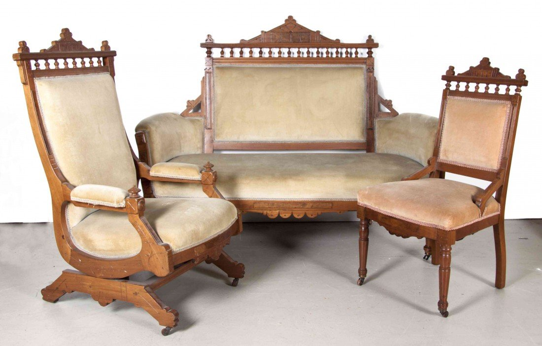 505: A Late Victorian Burlwood Parlor Suite, Width of f