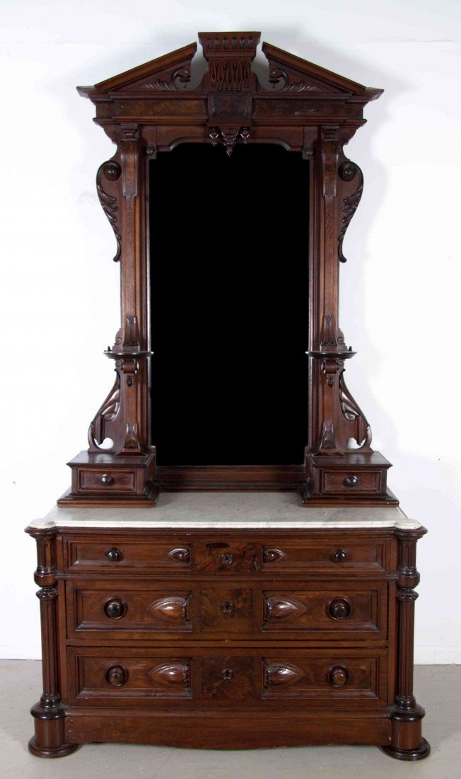 507: An Eastlake Dresser with Mirror, Height 95 3/4 x w