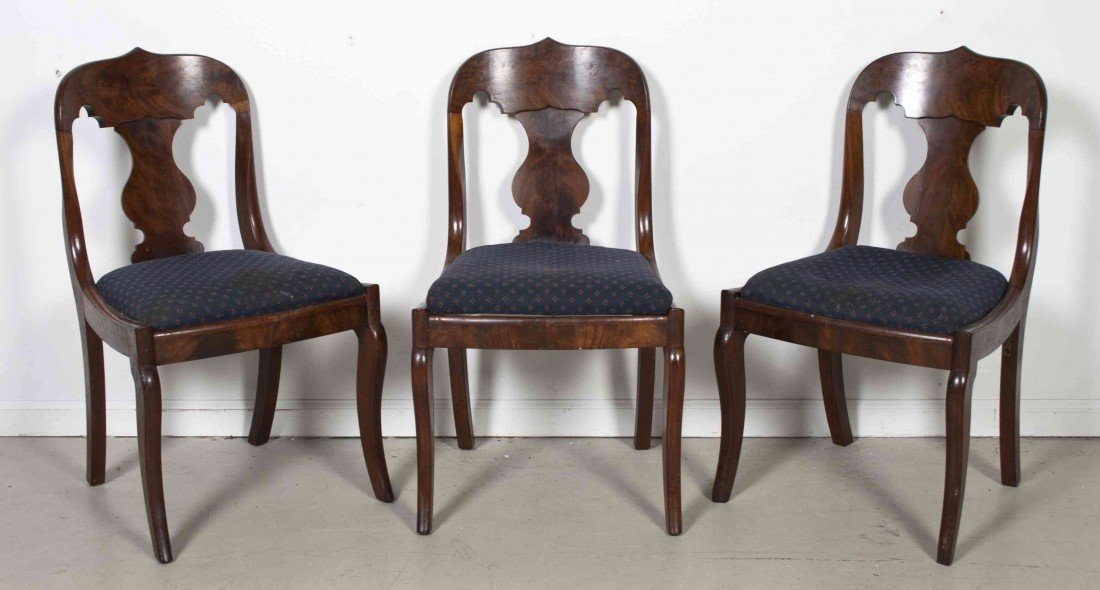 509: Three American Mahogany Side Chairs, Height 31 1/2