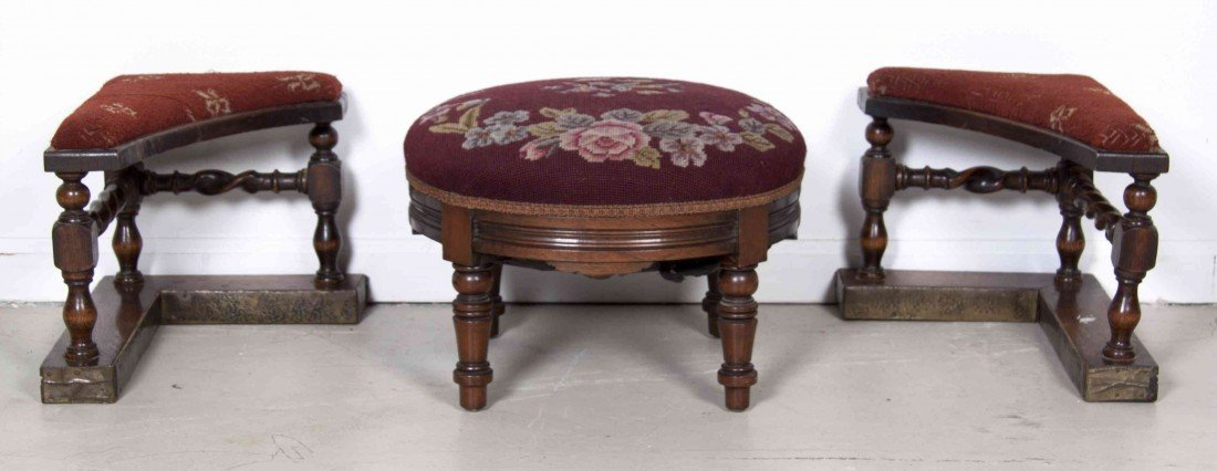 512: A Pair of Upholstered Fireplace Stools, Width of p