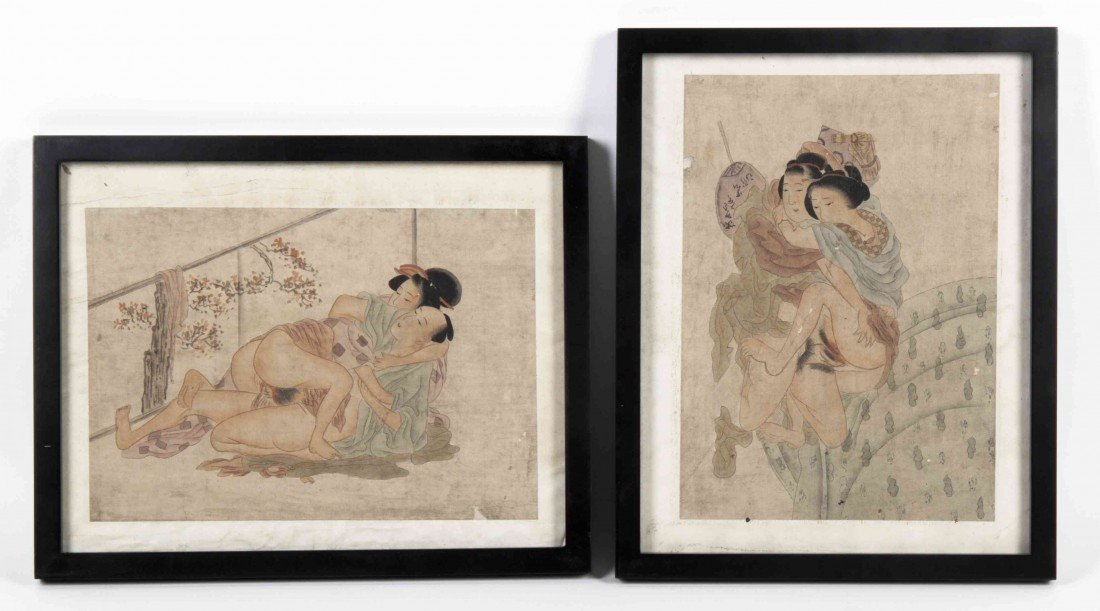 772: Two Japanese Erotic Paintings, Height of image 8 3