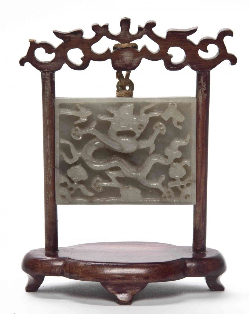 809: A Carved Jade Plaque, Width of plaque 3 1/8 inches