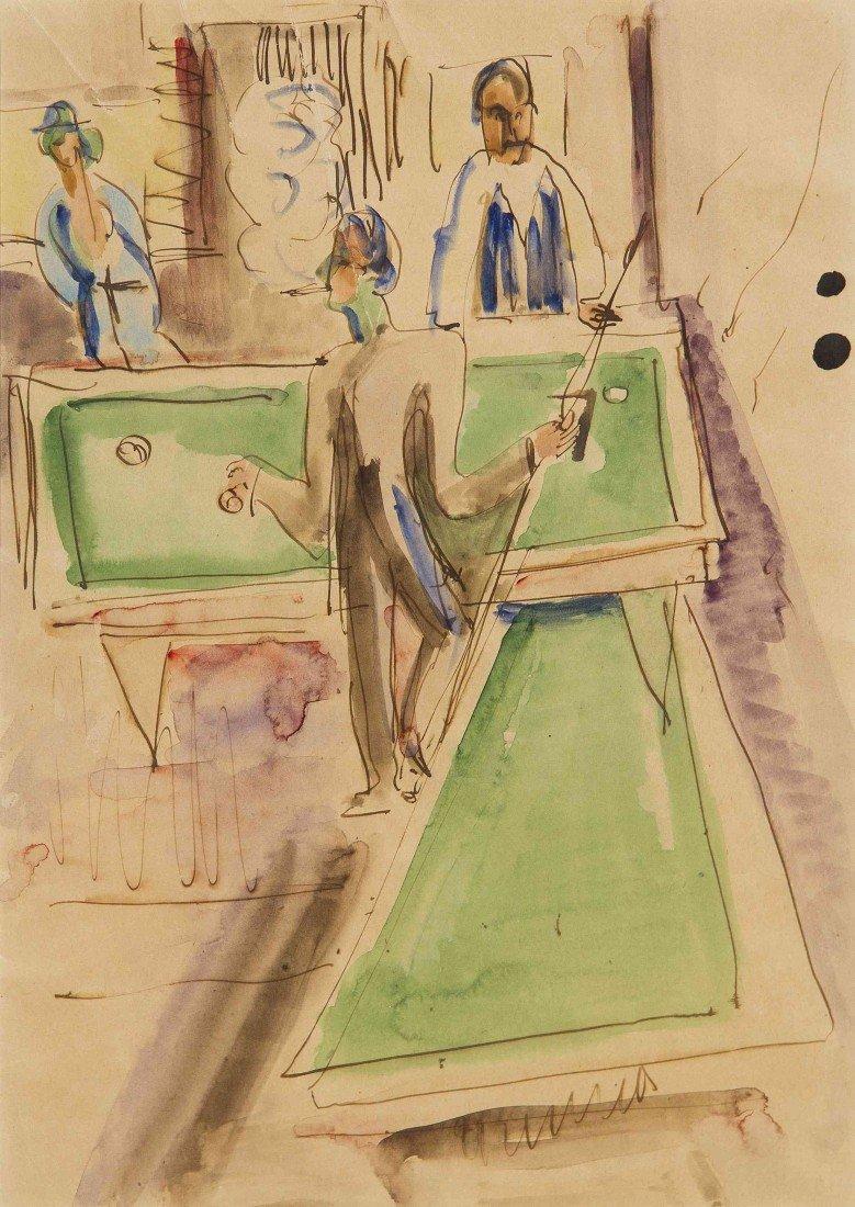 12: Ernst Ludwig Kirchner, (German, 1880-1938), Billiar
