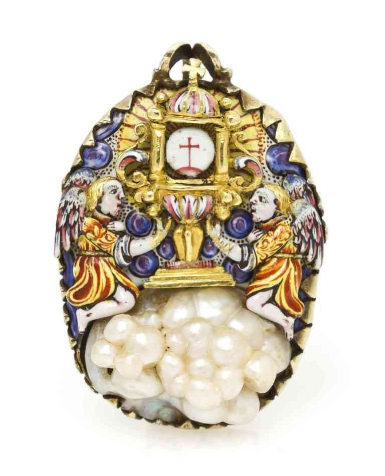 1: A Polychrome Enamel and Pearl Pendant, Circa 1680, 9