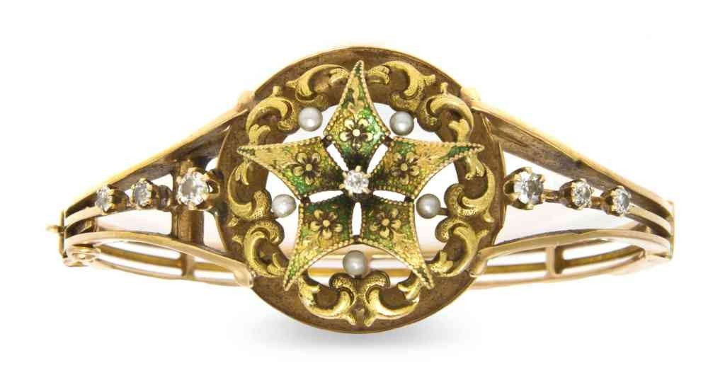6: A Victorian 15 Karat Yellow Gold, Diamond, Pearl and