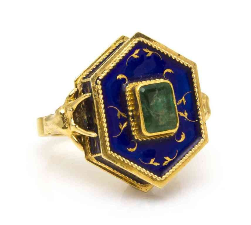 7: An 18 Karat Yellow Gold, Emerald and Enamel Poison R