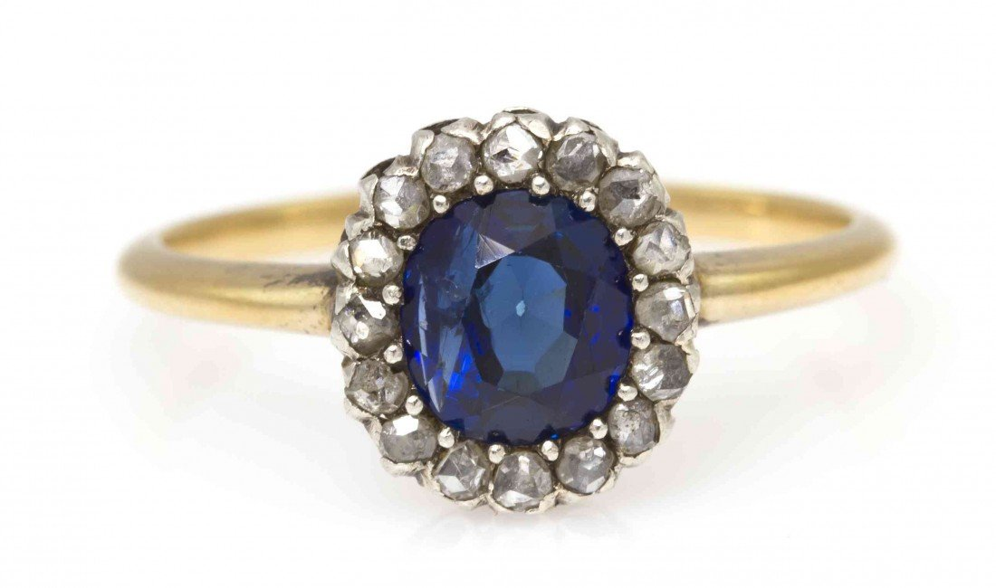 12: A Gold, Sapphire and Diamond Ring, 1.35 dwts.