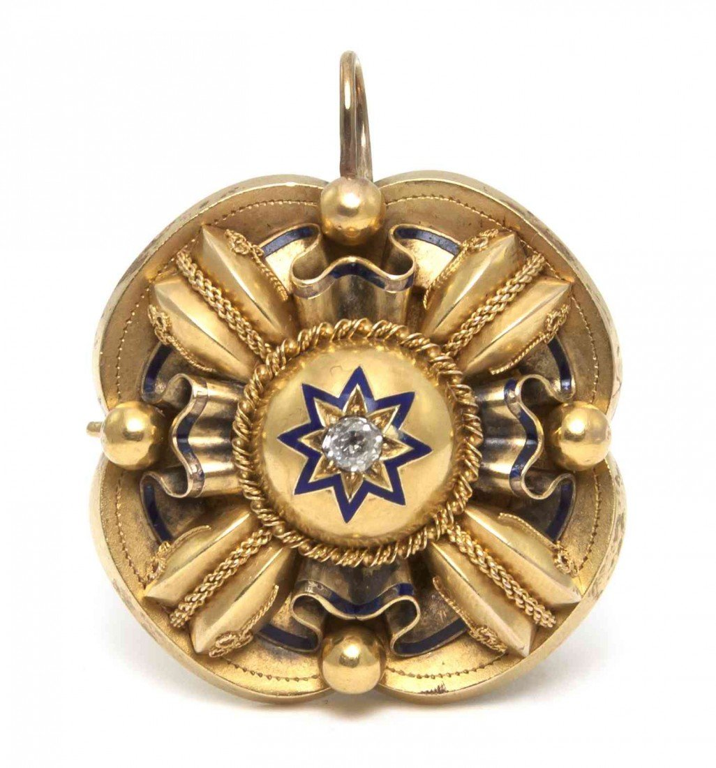 14: A Victorian Yellow Gold, Diamond and Enamel Pendant