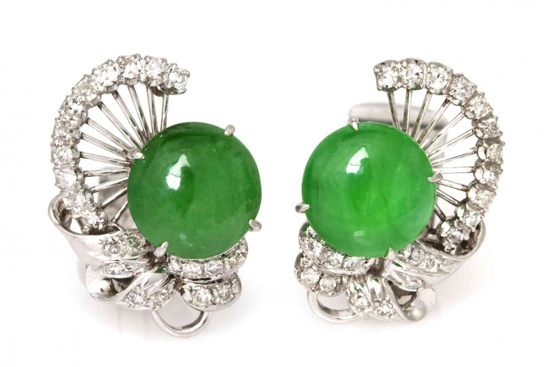 105: A Pair of Platinum, Jade and Diamond Earclips, Chi
