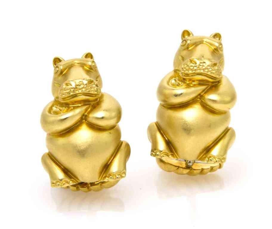 262: A Pair of 18 Karat Yellow Gold Hippo Cufflinks, He