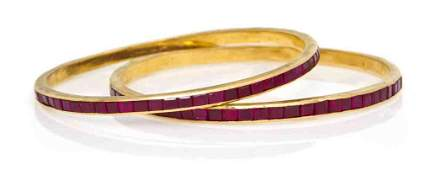 272 A Pair of 22 Karat Yellow Gold and Synthetic Ruby