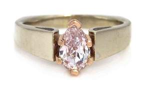 416 A Gold and Fancy Purplish Pink Diamond Solitaire R
