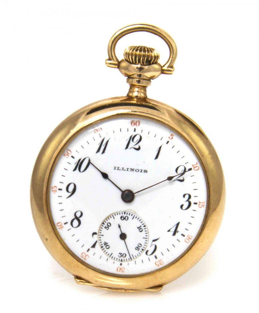 423: A 14 Karat Yellow Gold Open Face Pocket Watch, Ill