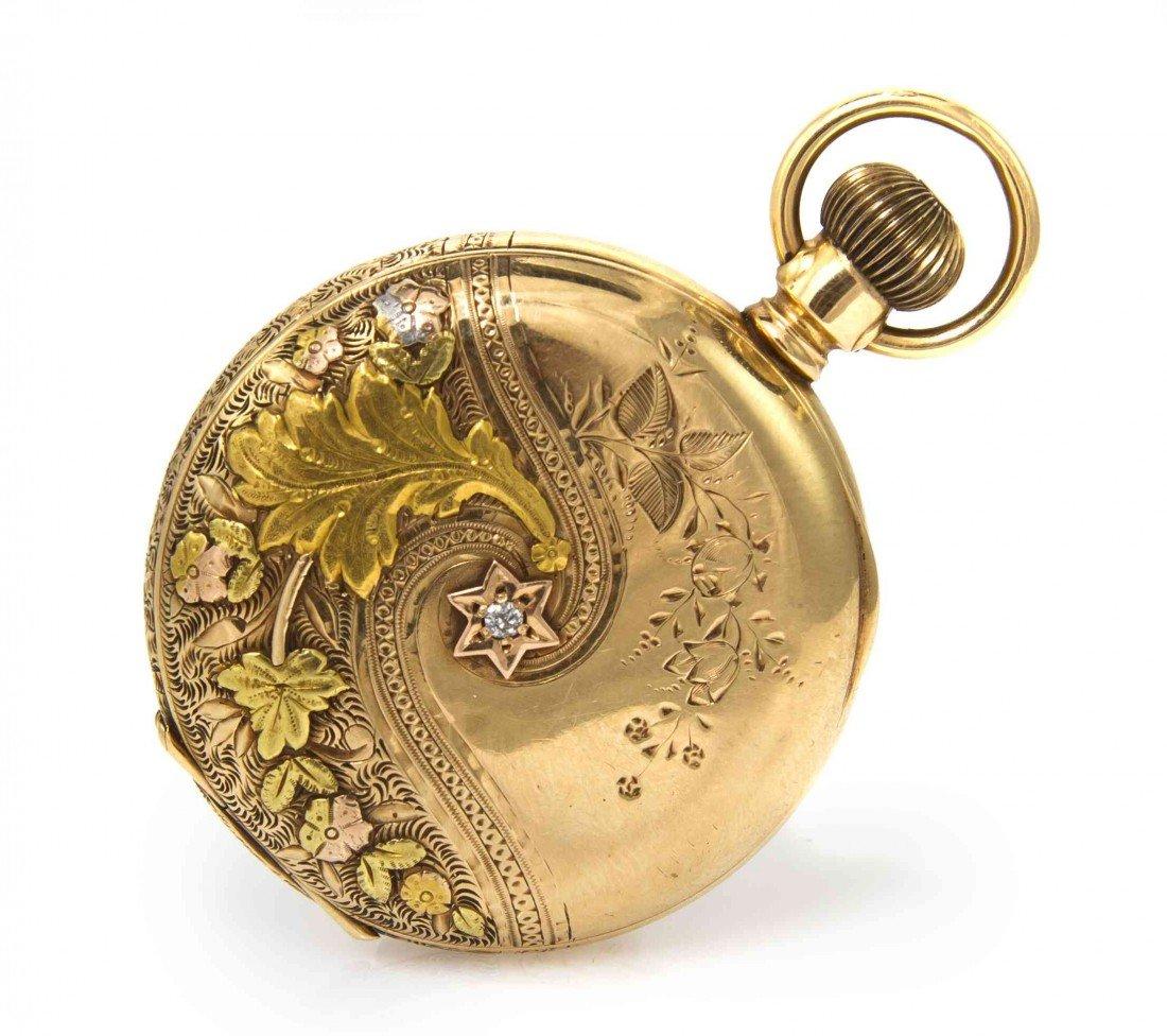 424: A 14 Karat Gold and Diamond Hunter Case Pocket Wat