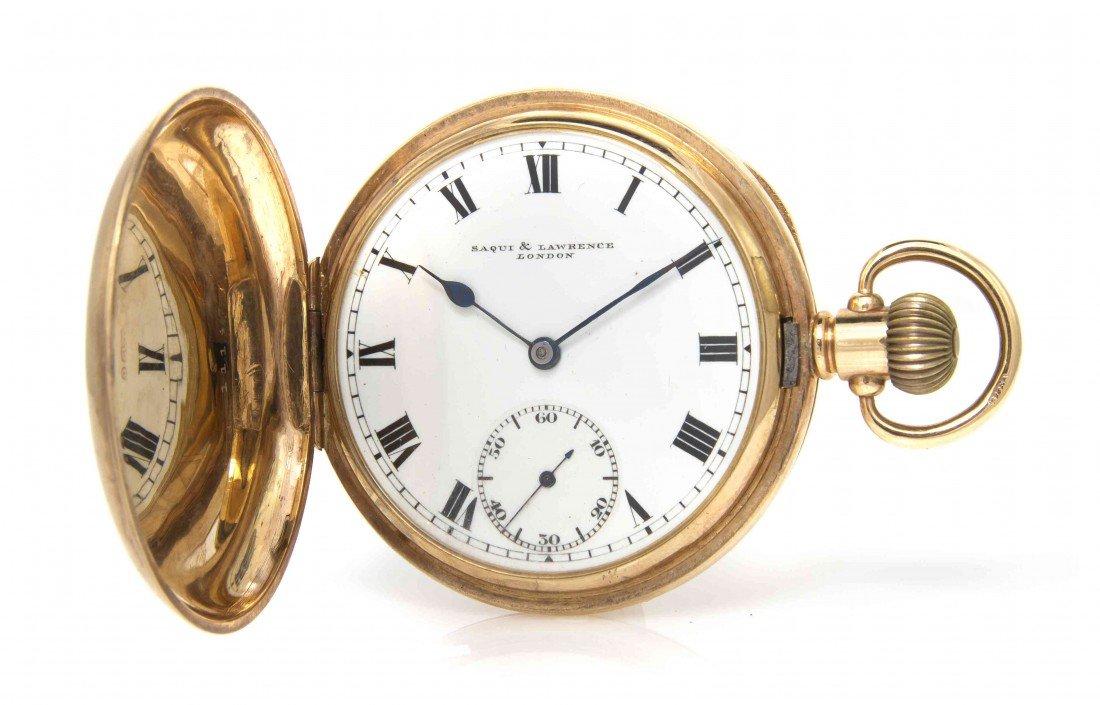 425: A 9 Karat Yellow Gold Pocket Watch, Saqui & Lawren