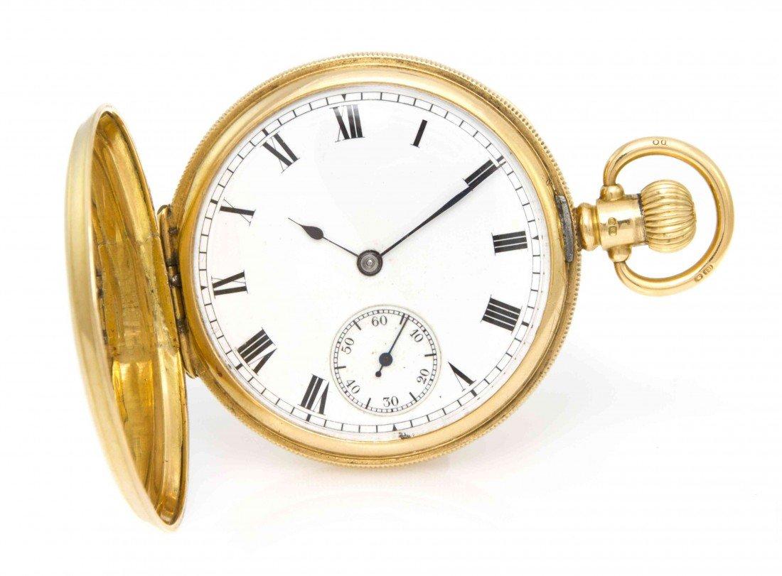 429: An 18 Karat Yellow Gold Hunter Case Pocketwatch, B