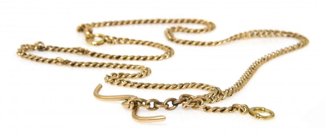 430: A 10 Karat Yellow Gold Watch Fob Chain, 21.30 dwts