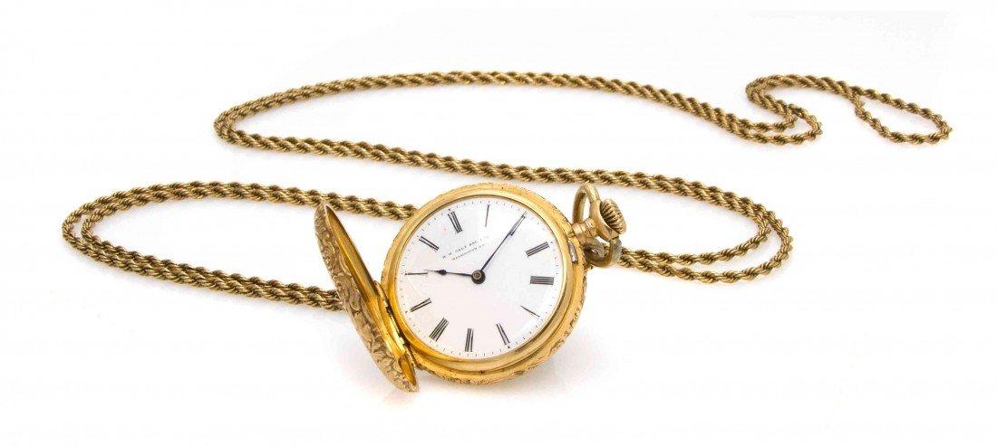 433: An 18 Karat Yellow Gold Hunter Case Pocket Watch,