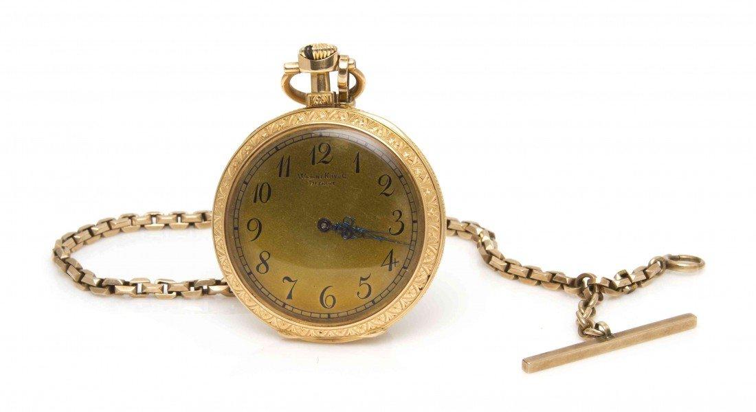 433A: An 18 Karat Yellow Gold Open Face Pocket Watch, P