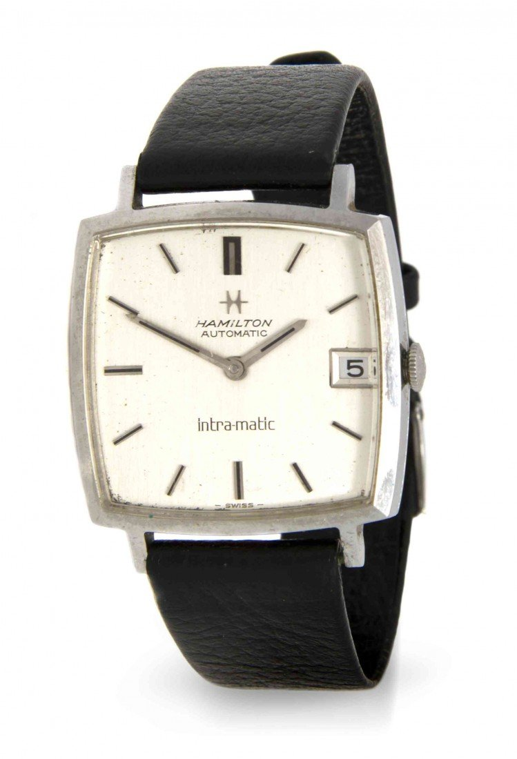 435: A Stainless Steel Intra-matic Wristwatch, Hamilton