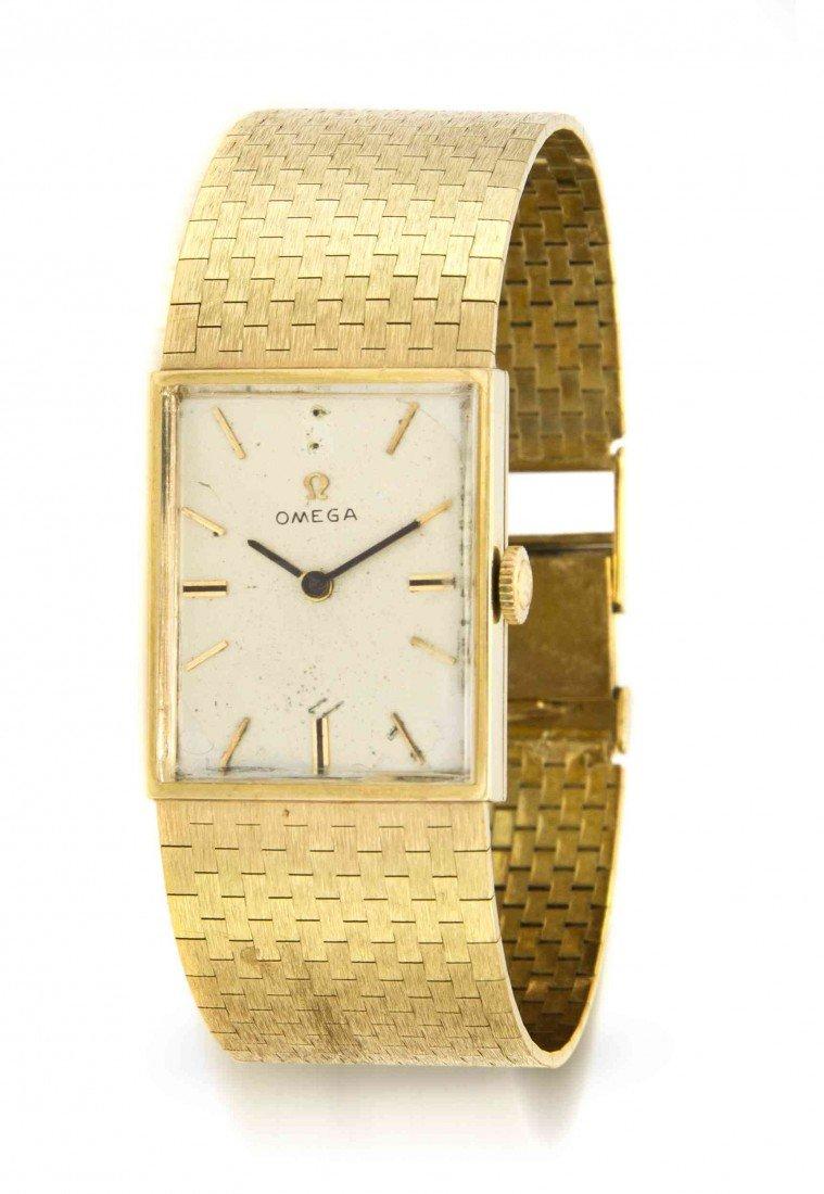 439: A 14 Karat Yellow Gold Wristwatch, Omega, Circa 19