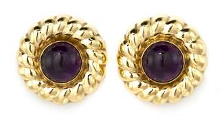 625 A Pair of 14 Karat Yellow Gold and Amethyst Earcli