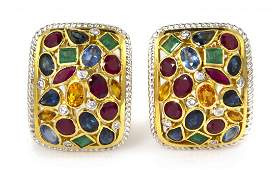 778 A Pair of 18 Karat Yellow Gold Ruby Sapphire Em