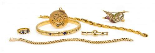 809: A Group of Vintage Yellow Gold Jewelry, 40.20 dwts