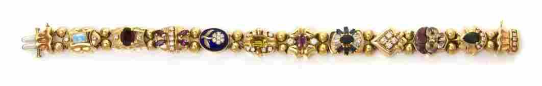 810: A 14 Karat Yellow Gold, Diamond, Multi Gem and Ena
