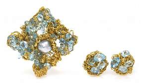 848 A Group of 14 Karat Yellow Gold Blue Topaz and Cu