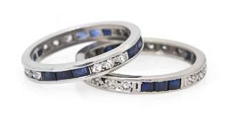 934 A Pair of Platinum Sapphire and Diamond Eternity