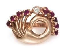 978: A 14 Karat Rose Gold, Ruby and Diamond Spray Ring,