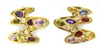 1009: A Pair of 18 Karat Yellow Gold, Diamond and Multi