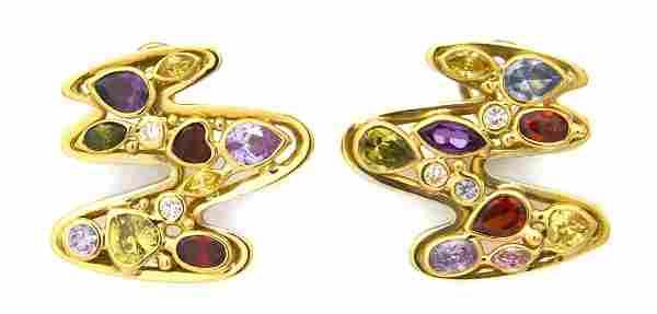 A Pair of 18 Karat Yellow Gold, Diamond and Multi