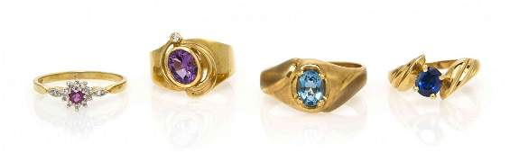1078: A Collection of Yellow Gold and Gem Rings, 9.70 d