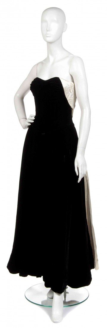 1: A Ceil Chapman Black Evening Gown,