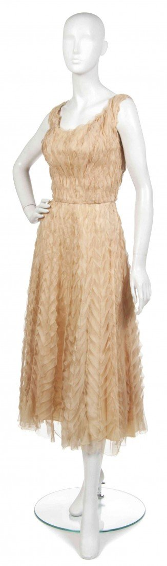 2: A Ceil Chapman Beige Silk Organza Cocktail Dress,