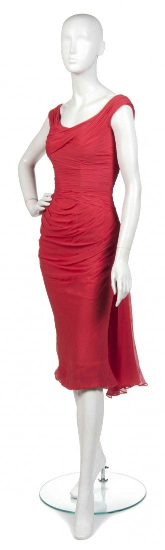 3: A Ceil Chapman Red Ruched Silk Cocktail Dress,